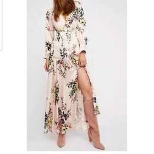 NWOT Free People In Bloom Floral Silky Maxi Dress